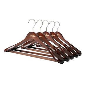 Brown Clothers Hangers, UNHO Extra Wide Coat Wooden Hangers with Anti-Rust 360 Degree Swivel Hook Clothing Hangers, Standard Hangers Ideal for Everyday Use, 5Pcs