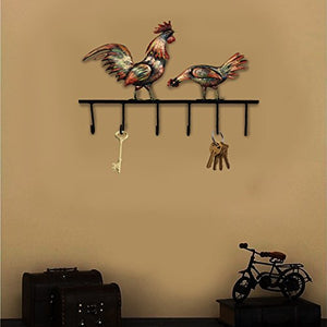 Crafia Decorated Wall Mounted Rooster Shape Iron Key Holder and Key Hooks | Decorative Unique Key Organizer with 6 Hooks