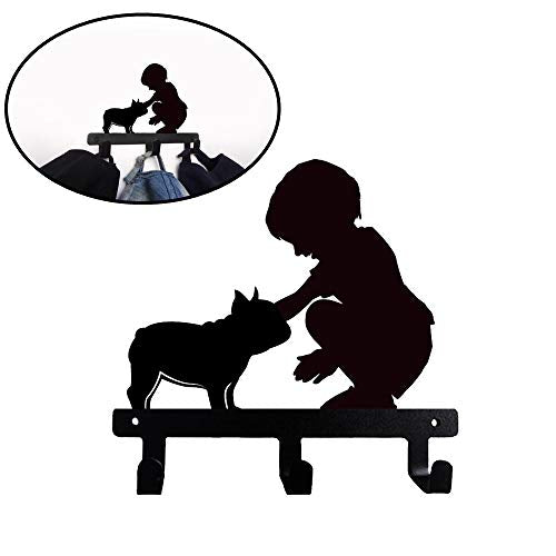 French Bulldog Frenchie Wall Mounted Hook for Towel Bathroom Clothes Kitchen Keys Purses (Kid and Frenchie)