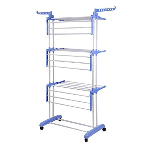 Garment Rack, Clothes Drying Rack 3 Tier Rolling Clothes Garment Rack Adjustable Laundry Rack Heavy Duty Clothes Racks with Foldable Wings Shape Indoor/Outdoor Standing Rack Hanging Rods (Blue)