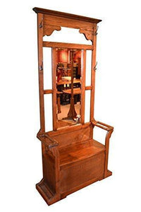 Crafters & Weavers Mission Oak Hall Tree with Umbrella Stand, Coat Hangers, and Storage Space in Seat