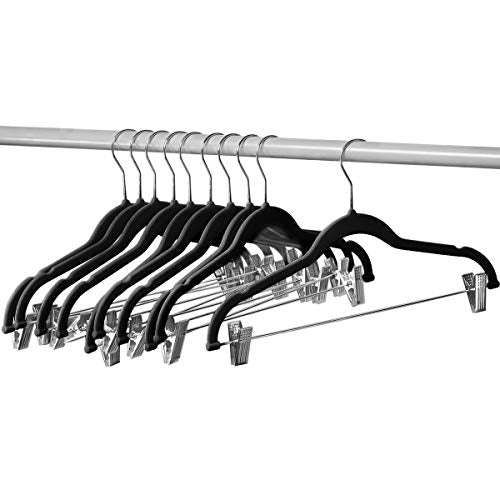 Home-it 10 Pack Clothes Hangers with Clips Black Velvet Hangers use for Skirt Hangers Clothes Hanger Pants Hangers Ultra Thin No Slip