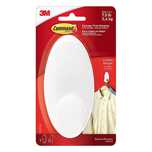 Command Clothes Hanger MVFWG, Large, White, 2-Pack