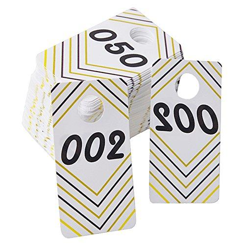 100 Pieces Reusable Consecutive (001-100) Live Sale Plastic Number Tags With Normal And Reversed Mirrored Numbers