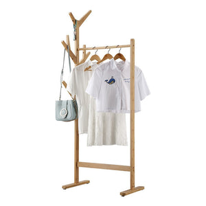 LANGRIA Single Rail Bamboo Garment Rack with 8 Side Hook Tree Stand Coat Hanger and Four Stable Leveling Feet for Jacket, Umbrella, Clothes, Hats, Scarf, and Handbags (Natural Wood Finish)