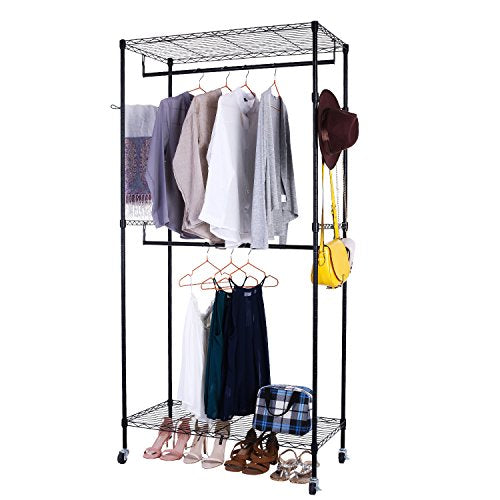 Free-Standing Rolling Clothes Rack,Heavy Duty Wire Shelving Garment Rack, Portable Double Rod Clothes Closet Wardrobe with Wheels (Black-1)