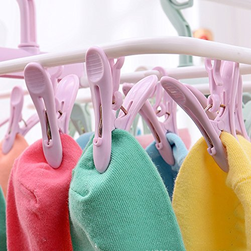 12 Clip Collapsible Plastic Coat Hanger Clothes Hanger Underwear Socks Wind-proof Airing Clips Of-B