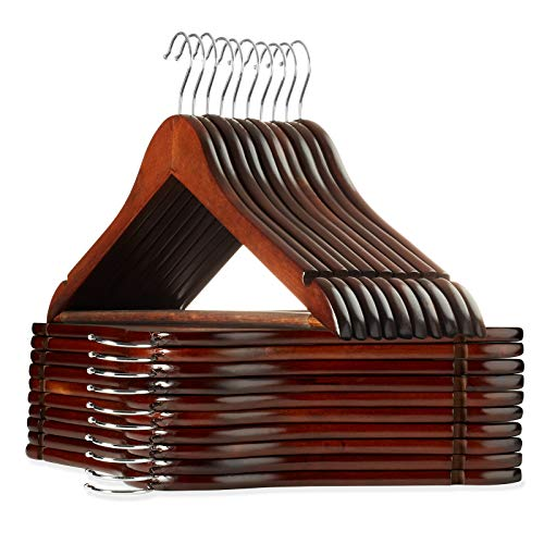 Casafield - 20 Walnut Wooden Suit Hangers - Premium Lotus Wood with Notches & Chrome Swivel Hook for Dress Clothes, Coats, Jackets, Pants, Shirts, Skirts