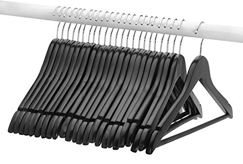 FloridaBrands Wooden Dress Hangers, Black Wood Suit Clothes Hangers with High Grade Extra Smooth Finish & Chrome Hook to Organize Your Wardrobe - (Pack of 24)