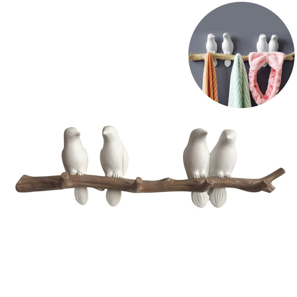 Evibooin Decor Wall Mounted Coat Rack | Birds On Tree Branch Hanger | for Coats, Hats, Keys, Towels, Clothes Storage Hanger (4 Hooks)