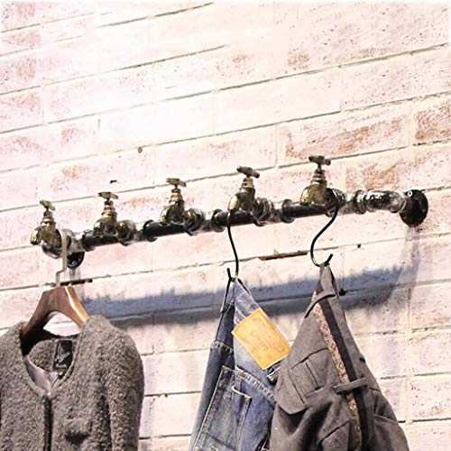 Coat Stand Industrial Wind Retro Wrought Iron Pipe Coat Rack Hanging Rod Clothing Store Shelves on The Wall Side Hanger Wall Hanging Clothing Rack (Color : A)