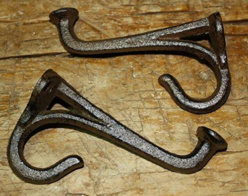 2 Cast Iron Tack Saddle Hook Style Coat Hooks Hat Hook Rack Hall Tree Brown , Heavy Duty Metal Decorative , Coat Hook , Hat Hook - Wall Mounted , Wall Hook , Coat Hanger ,Single Hooks For Bath