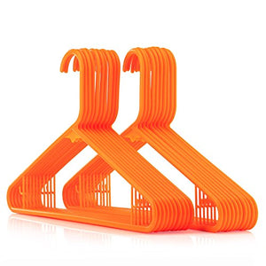 HANGERWORLD 20 Orange 16inch Plastic All Purpose Coat Clothes Garment Pant Skirt Bar Hangers Loop Hooks