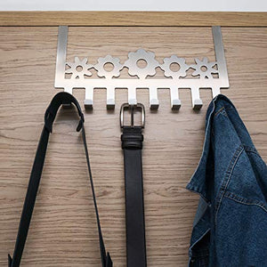 FlowerBear Over The Door Hook Organizer Rack Storage Multi 8 Hanger Wall Mount Coats Hats Robes Clothes Towels Belt Accessory Stainless Steel Chrome Aluminum