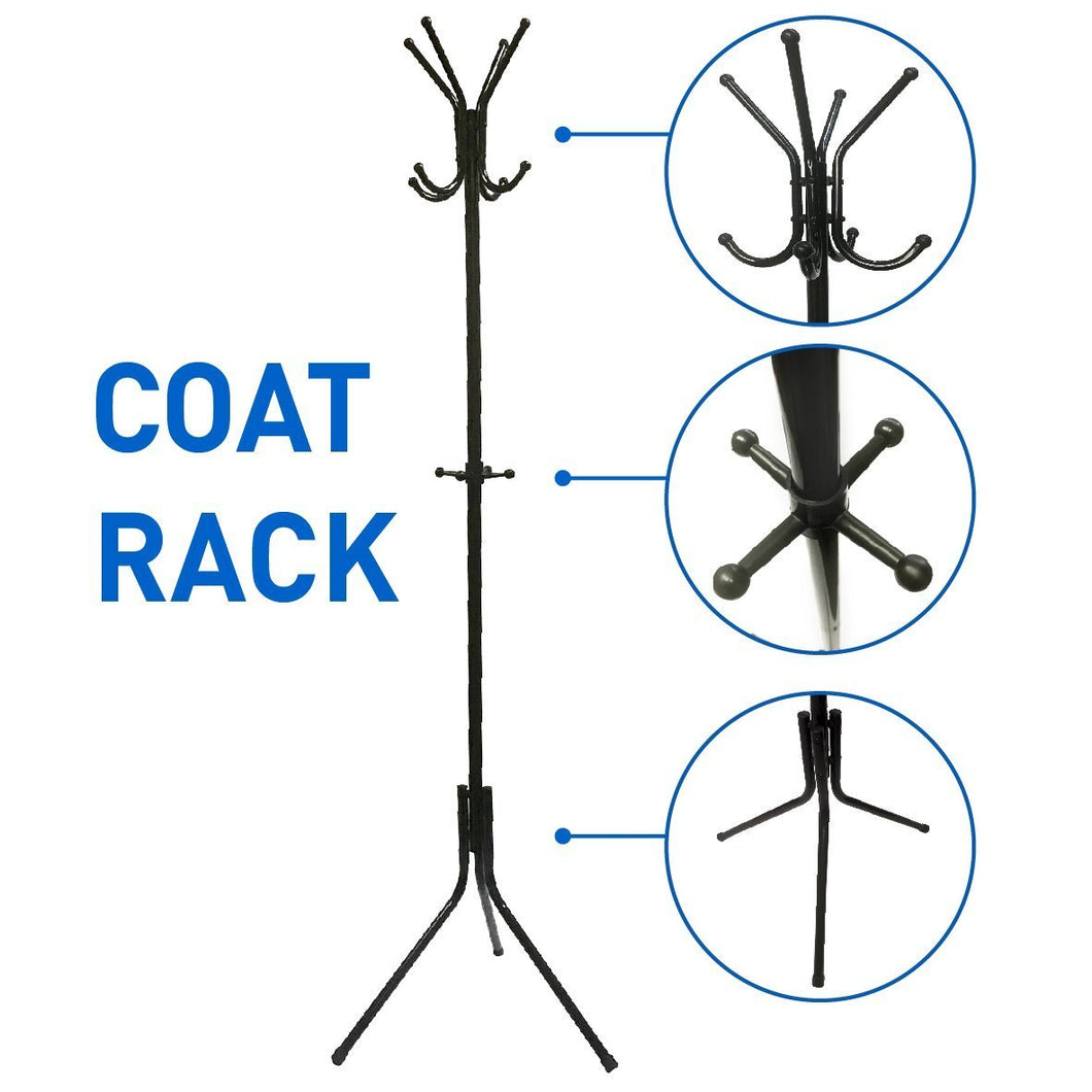 EasyGoProducts EGP-RACK-001-2 Liverpool Metal Stand – 6' Tall-Use with Jackets, Scarves, Purses, Suits, Umbrellas and Backpacks-Entryway Coat Rack Hat Hanger, Black