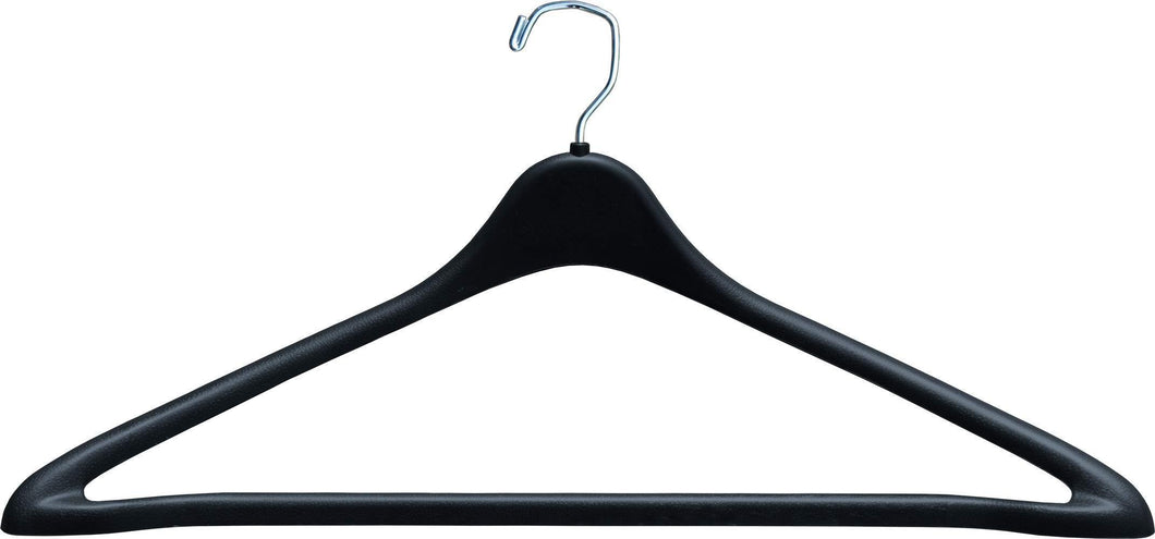 The Great American Hanger Company Heavy Duty Black Plastic Suit Hanger with Fixed Bar, (Box of 100) Sturdy 1/2 Inch Thick Coat Hangers with Square Topped Chrome Swivel Hook