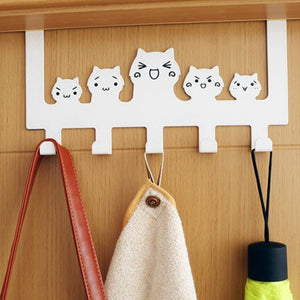 Father's Day Gift Zonman Cartoon Wall Mounted Bag Hanger Towels Rack Door Hanging Clothes Rack Free Nail Hanger Coat Rack Clothing Hooks (Cute White Cat Hook)