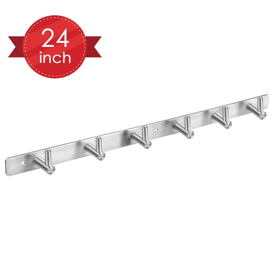 Amzdeal Coat Hook Wall Mounted 304 Stainless Steel Heavy Duty Coat Rack Door Hooks Bathroom Towel Hooks with 6 Hooks can Hold 30kg(66lb)