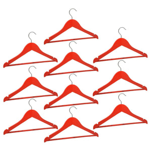 Harbour Housewares Children's Wooden Clothes Hanger - Red - Pack of 10
