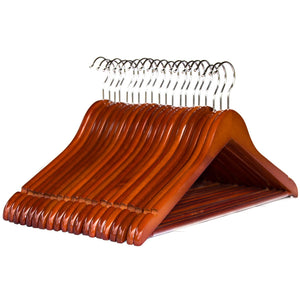 Clutter Mate Wood Clothes Hangers Non-Slip Pants Bar Wooden Coat Hanger 20-Pack