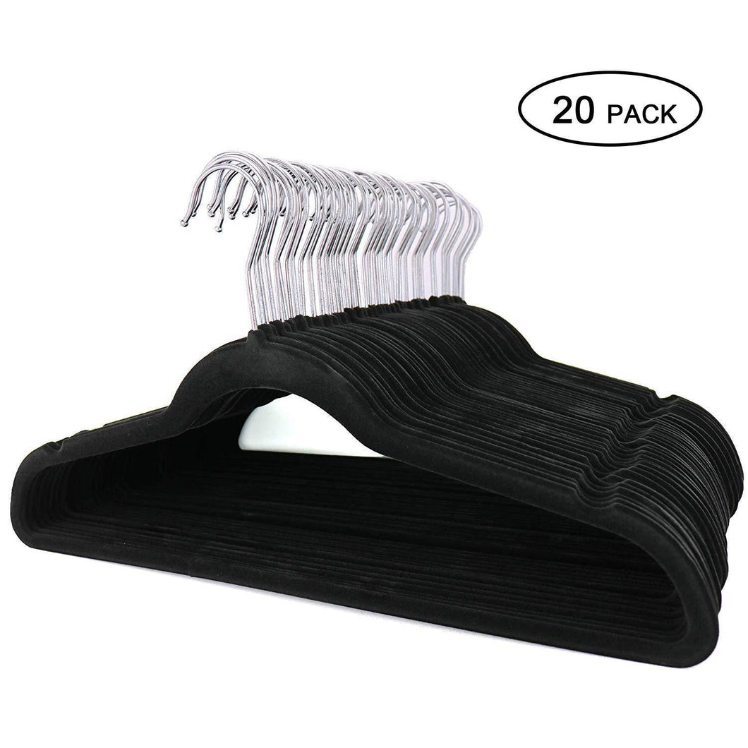Topgalaxy.Z Velvet Suit Hangers, 20 Pack Closet Clothes Hangers - Non Slip Hangers for Coat Hanger, Pants Hangers, Dorm Hangers (Black)