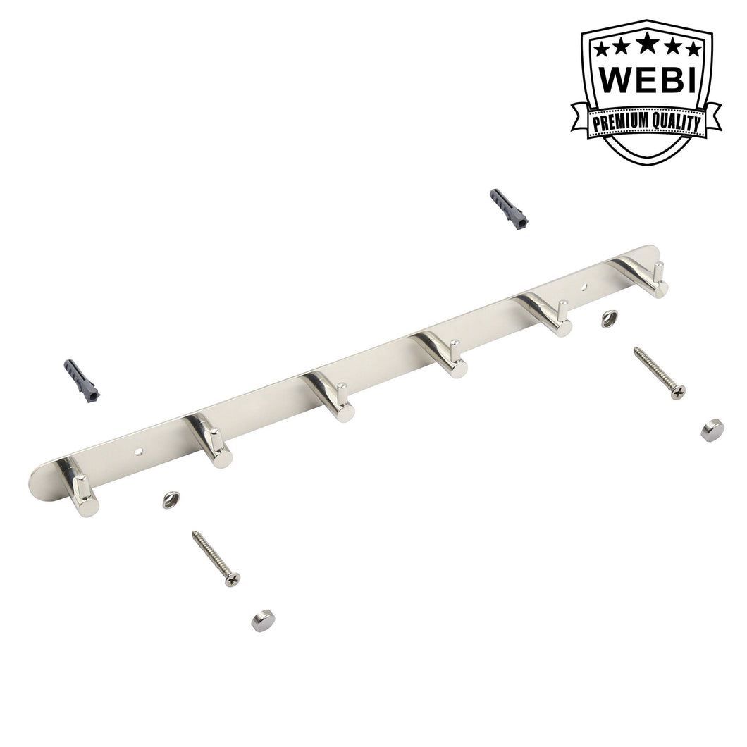 WEBI Polished 6 Peg SUS 304 Coat Robe Hook Hat Garment Rack Kitchen Bath Towel Holder Closet Clothes Hanger, Wall Mounted Bedroom Bathroom Entryway Accessories Home Office Storage Organization 304YZ6
