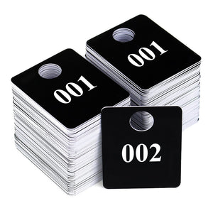 2 Sets – Plastic Numbered Tags, Coat Room Checks, Reusable Coatroom Hanger Claim Tickets, 2 Sets of 100 Consecutive Numbers (001-100)