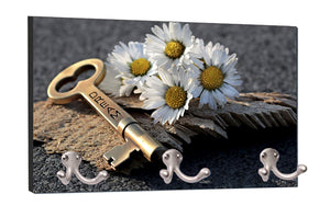 "Dream Key and White Flowers Print Design - 8"" by 16"" Mountable Coat Hanger Rack Household Decoration with Three Double Silver Hooks"