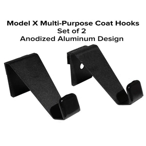 EVHooks.com Coat Hooks Designed for Tesla Model X - Black (Set of 2) – Anodized Aluminum Seat Headrest/Seatback Hanger Clothes Holder