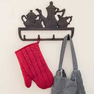 "Decorative Cast Iron Kitchen Storage Towel Rack | Old Fashioned Tea Pot With 4 Hooks |For Keys, Towels, Clothes, Anprons etc | Wall Mounted Towel Hanger | - 11.8 x 7.9""- With Screws And Anchors By Comfify"
