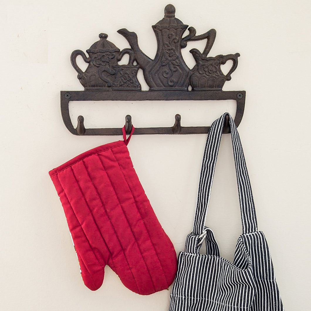 Decorative Cast Iron Kitchen Storage Towel Rack | Old Fashioned Tea Pot With 4 Hooks |For Keys, Towels, Clothes, Anprons etc | Wall Mounted Towel Hanger | - 11.8 x 7.9