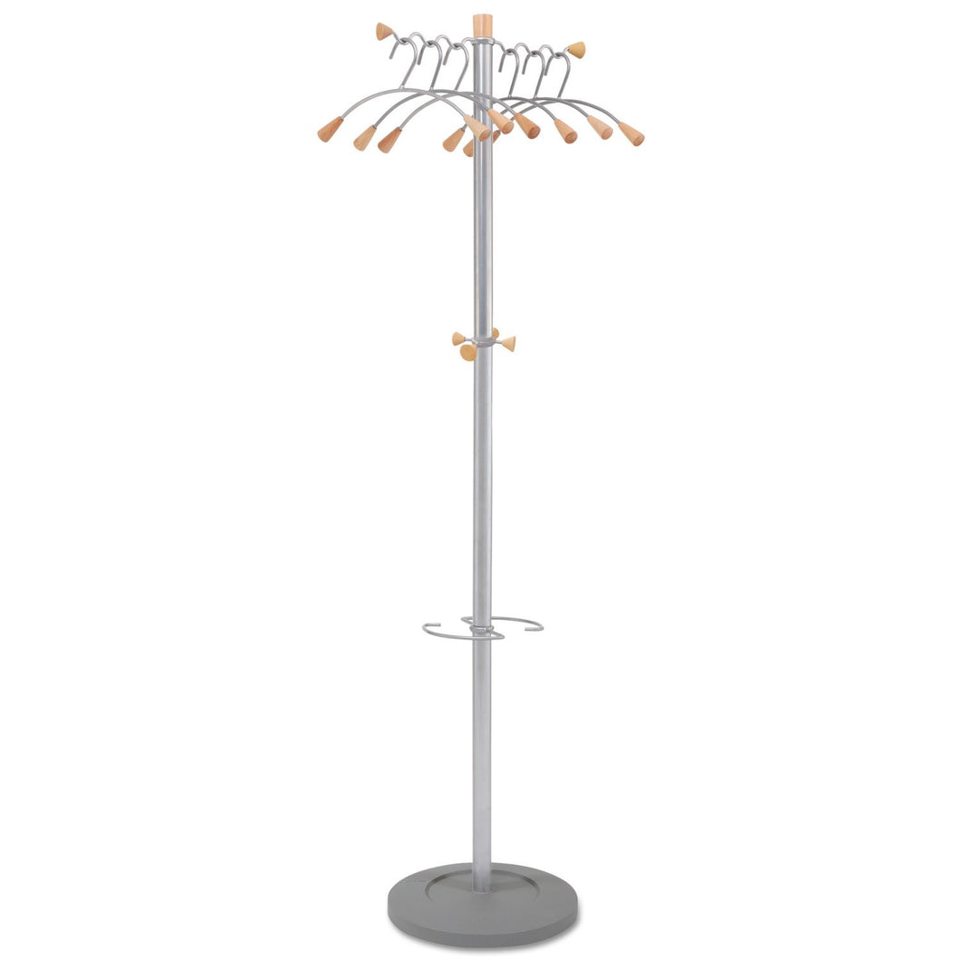 Alba Wavy Coat Tree, Six Hangers/Two Knobs/Four Hooks, 18.88w x 14d x 68.5h, Silver Steel/Wood