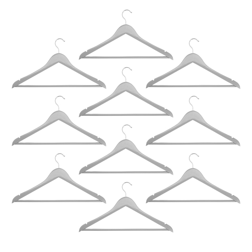 Harbour Housewares Wooden Clothes Hangers - Grey - Pack of 10