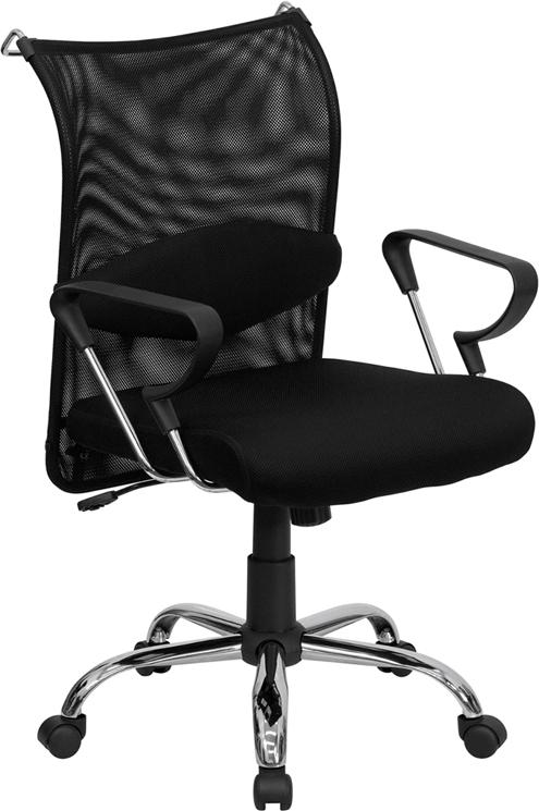 Commercial Grade Mid-Back Black Mesh Swivel Manager's Office Chair with Adjustable Lumbar Support and Arms