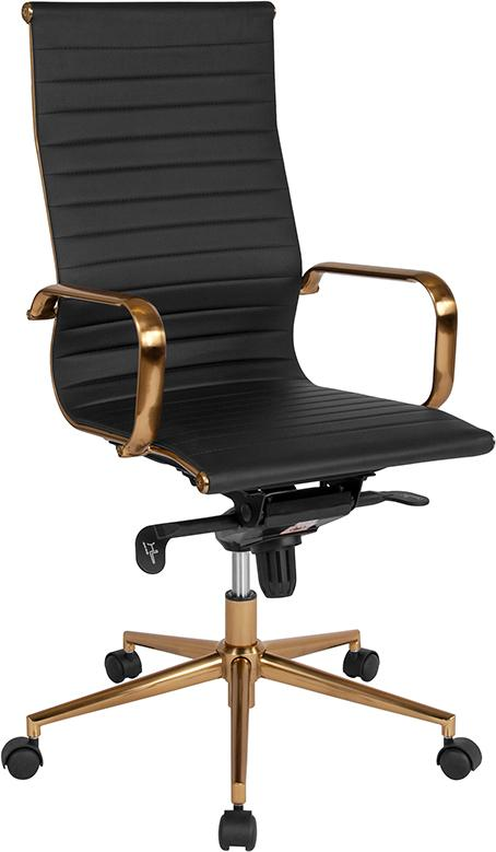 Commercial Grade High Back Black Ribbed Bonded Leather Executive Swivel Office Chair with Gold Frame, Knee-Tilt Control and Arms
