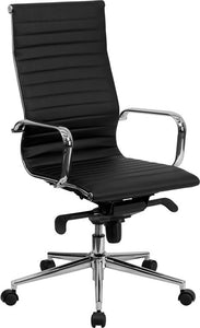 Commercial Grade High Back Black Ribbed Bonded Leather Executive Swivel Office Chair with Knee-Tilt Control and Arms