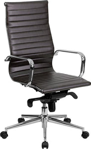 Commercial Grade High Back Brown Ribbed Bonded Leather Executive Swivel Office Chair with Knee-Tilt Control and Arms