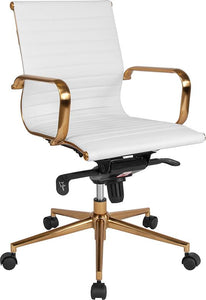 Commercial Grade Mid-Back White Ribbed Bonded Leather Executive Swivel Office Chair with Gold Frame, Knee-Tilt Control and Arms