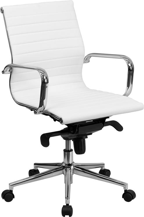Commercial Grade Mid-Back White Ribbed Bonded Leather Swivel Conference Office Chair with Knee-Tilt Control and Arms