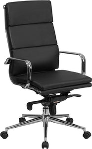 Commercial Grade High Back Black Bonded Leather Executive Swivel Office Chair with Synchro-Tilt Mechanism and Arms