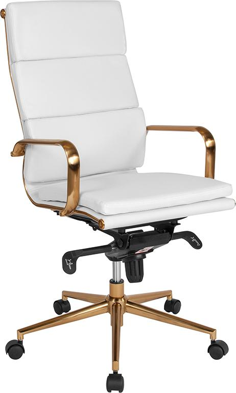 Commercial Grade High Back White Bonded Leather Executive Swivel Office Chair with Gold Frame, Synchro-Tilt Mechanism and Arms