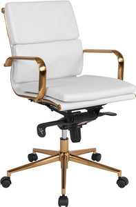 Commercial Grade Mid-Back White Bonded Leather Executive Swivel Office Chair with Gold Frame, Synchro-Tilt Mechanism and Arms