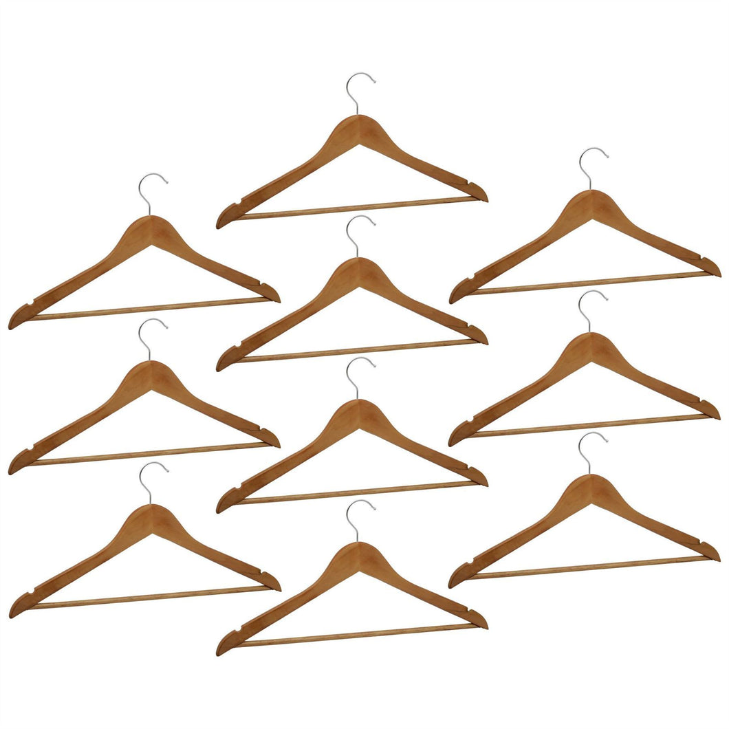 Harbour Housewares Wooden Clothes Hanger - Natural Wood - Pack of 10