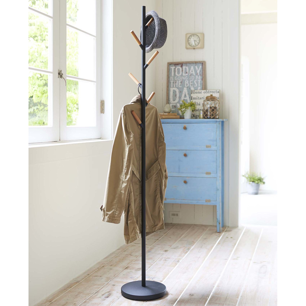 Plain Pole Coat Hanger Rack 2815, Black/Wood