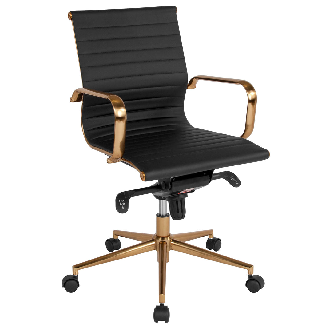 Mid-Back Ribbed Leather Swivel Conference Chair with Knee-Tilt Control and Arms