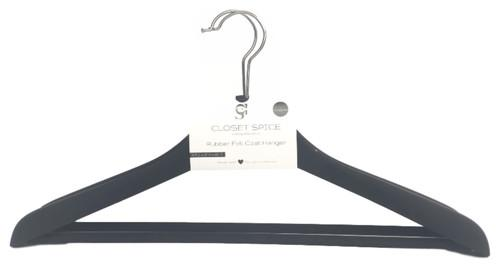 Closet Spice Rubber Coated Wide Shoulder Plastic Non-Slip Coat Hangers with Non-Slip Pant Bar - Set of 4 (Black)