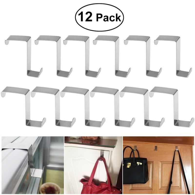 BESTOMZ 12pcs Stainless Steel Z-Shaped Hook for Kitchen Cabinet Cloth Towel Bag Hanger Space Saving