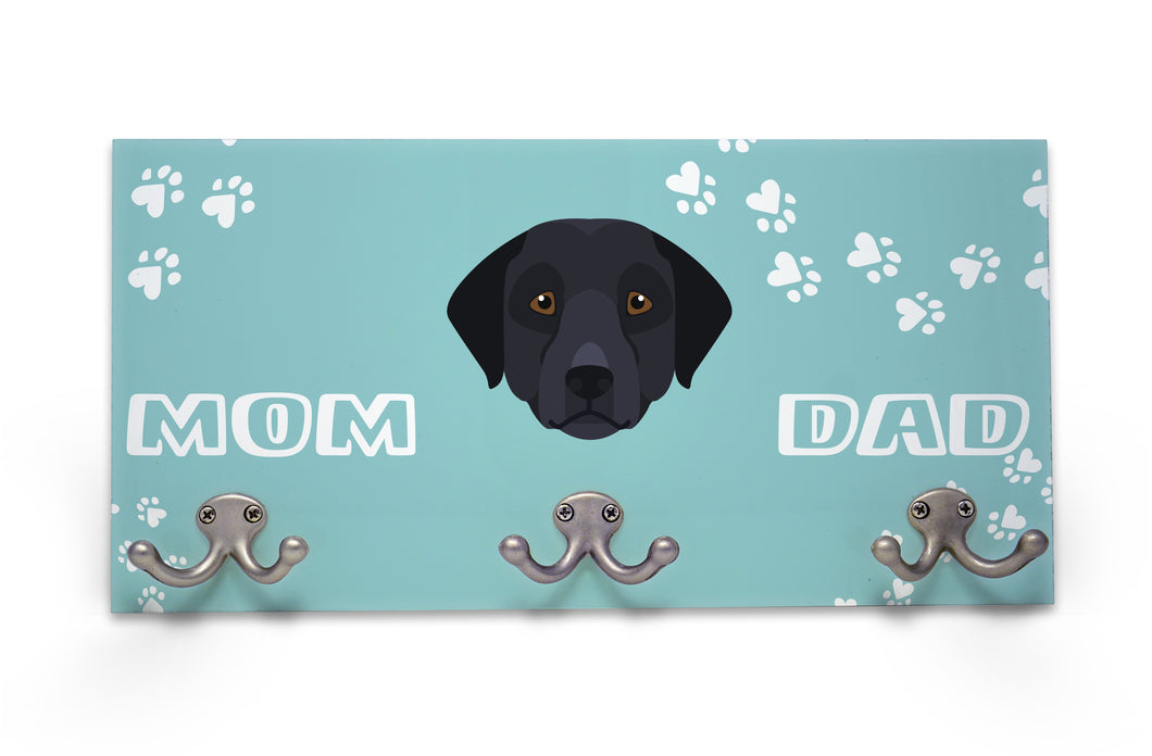 Wall Mounted Coat Rack - Black Labrador