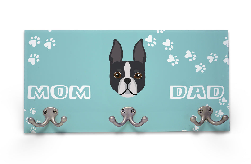 Wall Mounted Coat Rack - Boston Terrier