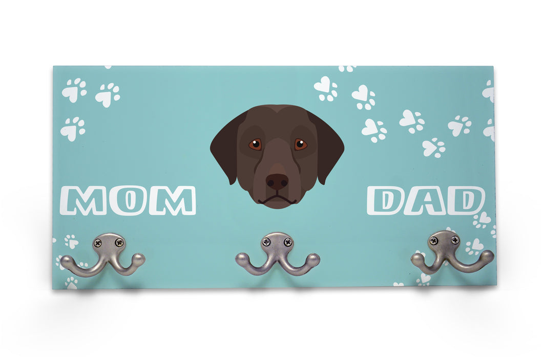 Wall Mounted Coat Rack - Chocolate Labrador